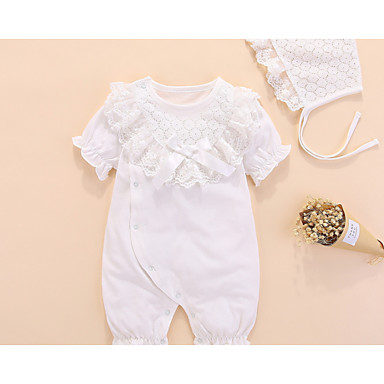 d6d2b40c7b9 Baby Girls  Basic Daily Solid Colored Ruffle   Bride   Groom Style   Basic  Short Sleeves Cotton   Polyester Romper White  06724797