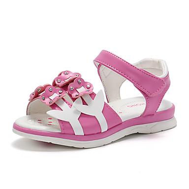 Fete Pantofi PU Vară Confortabili / Pantofi Fata cu Flori Sandale Plimbare Flori pentru Copii Alb / Piersică / Roz