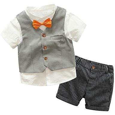 billige Tøjsæt til drenge-Baby Drenge Aktiv Basale Daglig Skole Ensfarvet Stribet Farveblok Trykt mønster Kortærmet Normal Normal Bomuld Tøjsæt Grå