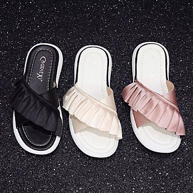 Beige Rosa Talón Tacón 06751954 Verano Mujer Descubierto y PU flip Zapatillas Plano Zapatos flops Negro wax7p