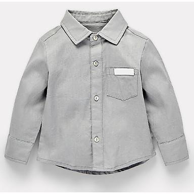 Bello Bambino Da Ragazzo Essenziale Quotidiano Tinta Unita Manica Lunga Standard Cotone - Poliestere Camicia Grigio - Bambino (1-4 Anni) #06737501 Ampie Varietà