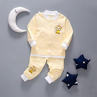 Bebelus Băieți Activ Zilnic Mată Manșon Lung Regular Bumbac Set Îmbrăcăminte Roz Îmbujorat 80 / Copil