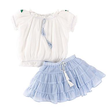 Copii Fete De Bază / Sofisticat Ieșire Imprimeu Funde / Brodat Manșon scurt Bumbac Set Îmbrăcăminte