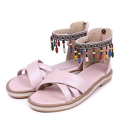 Sandales 06733334 Gland Plat Blanc Bleu Femme Escarpin Rose Billes Talon Eté Confort Polyuréthane Bout Chaussures ouvert Basique RaxfqUTa