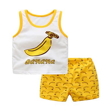 Bebelus Băieți Mată Fără manșon Set Îmbrăcăminte