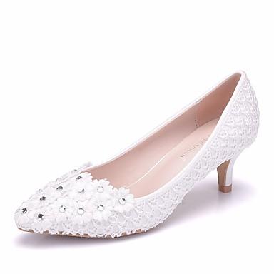 Pentru femei Pantofi PU Primavara vara Balerini Basic pantofi de nunta Toc Jos Vârf ascuțit Sclipici Strălucitor Alb / Nuntă