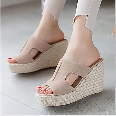 Noir Chaussures Confort Femme Eté 06752171 Hauteur Amande de semelle ouvert Sandales Bout Daim compensée awxxPCqZ