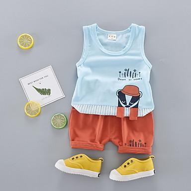 Bebelus Unisex Activ Zilnic Imprimeu Fără manșon Scurt Bumbac / Poliester Set Îmbrăcăminte Roz Îmbujorat 100 / Copil
