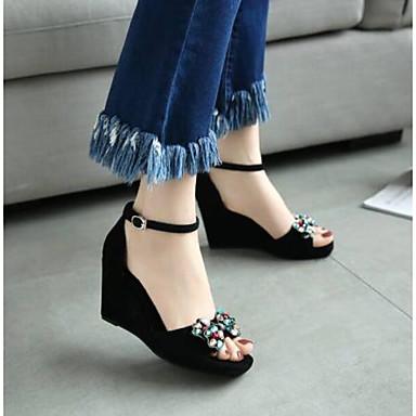 Boucle 06766525 Femme ouvert de Bout compensée Confort Sandales Eté Noir Chaussures Hauteur semelle Peau de mouton qqw7ZOr