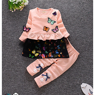 Bebelus Fete Mată Manșon Lung Set Îmbrăcăminte