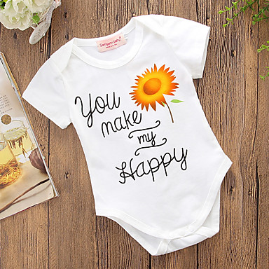 4db3a578f Baby Girls' Active Daily / Holiday Floral Classic / Stylish / Pure Color Short  Sleeves Cotton Bodysuit White / Cute / Toddler