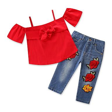 Dijete Djevojčice Ležerne prilike / Aktivan Dnevno / Praznik Jednobojni / Cvjetni print Vezeno Kratkih rukava Regularna Spandex Komplet odjeće Red 100 / Dijete koje je tek prohodalo