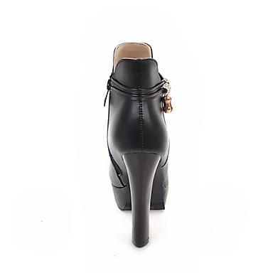 Mode Bottine Chaussures la Bout Botte Bottes Automne Femme Blanc Bottier Noir Polyuréthane Beige 06765934 Talon hiver à rond Bottes Demi OFwqd0x