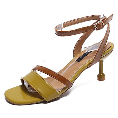Pentru femei PU Vară Pantof cu Berete Sandale Toc Mic Bej / Galben / Roz / Party & Seară / Bloc Culoare / Party & Seară