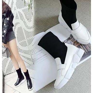 Talon Bout mollet 06770505 fermé Nappa Noir Mi Basket Blanc Plat Femme Confort Bottes Chaussures Cuir hiver Automne OHx40Tw