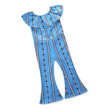 Copil Fete Vintage / Șic Stradă Concediu / Ieșire Geometric Plisată / Franjuri / Imprimeu Manșon scurt Spandex Salopetă Albastru piscină 100
