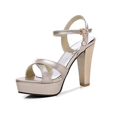Pentru femei Pantofi PU Vară Pantof cu Berete Sandale Toc Îndesat Vârf deschis Auriu / Negru / Argintiu