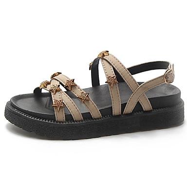 Pentru femei Pantofi cu tocuri îndoite Imitație Piele Vară Confortabili Sandale Toc Drept Vârf rotund Piatră Semiprețioasă Negru / Galben