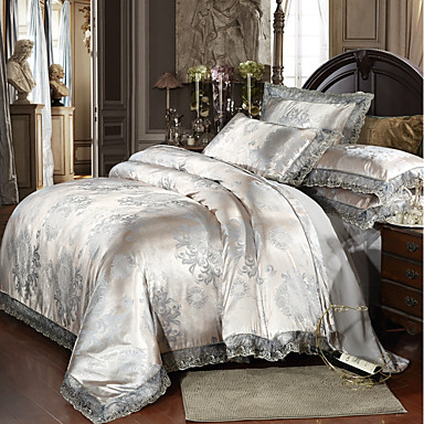 Duvet Cover Sets Luxury Polyster Printed & Jacquard 4 PieceBedding Sets / 300 / 4pcs (1 Duvet Cover, 1 Flat Sheet, 2 Shams)