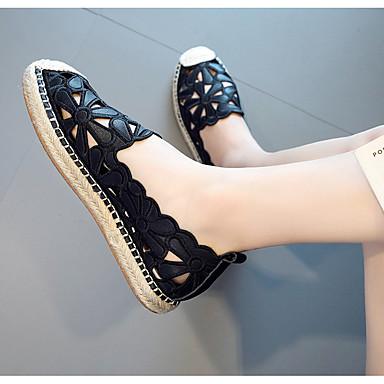 D6148 Noir Chaussures en Chaussons Couture Talon Moccasin Dentelle Mocassins Blanc rond Plat et 06765926 Bout Eté Cuir Femme pAawqf0w