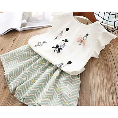 Bebelus Fete Activ Sport Imprimeu Fără manșon Bumbac Set Îmbrăcăminte / Copil
