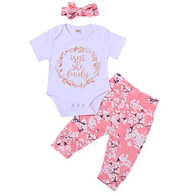 Bebelus Fete Activ Imprimeu Manșon scurt Lung Bumbac Set Îmbrăcăminte