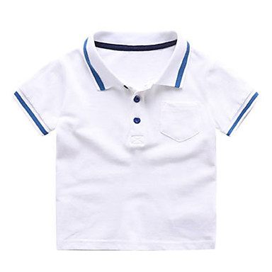 baratos Camisas para Meninos-Bébé Para Meninos Básico Diário Retalhos Estampado Manga Curta Padrão Algodão Camiseta Azul