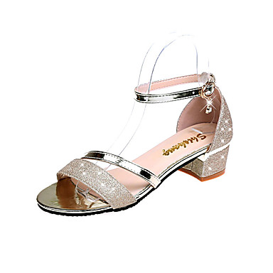Pentru femei Pantofi PU Vară Confortabili Sandale Toc Jos Vârf rotund Piatră Semiprețioasă Auriu / Argintiu