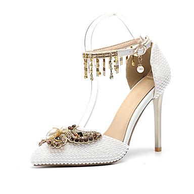Pentru femei Pantofi PU Primavara vara D'Orsay & Două Bucăți pantofi de nunta Toc Stilat Vârf ascuțit Funde / Perle / Sclipici Strălucitor