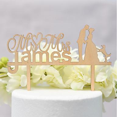 Vârfuri de Tort Temă Clasică / Nuntă Iubire Lemn / Bambus Nuntă / Aniversare cu 1 pcs OPP