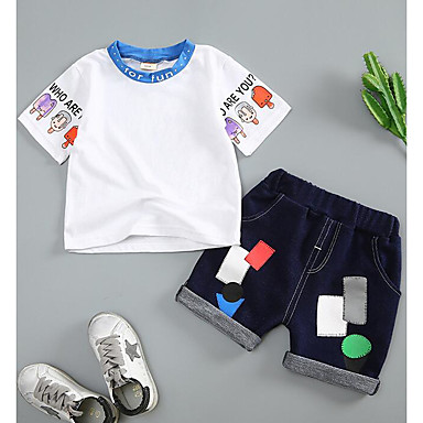 Bebelus Unisex Imprimeu Manșon scurt Set Îmbrăcăminte