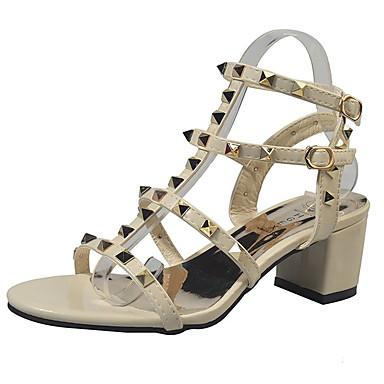Pentru femei Pantofi PU Vară Pantof cu Berete Sandale Toc Îndesat Ținte Negru / Bej / Argintiu / Party & Seară