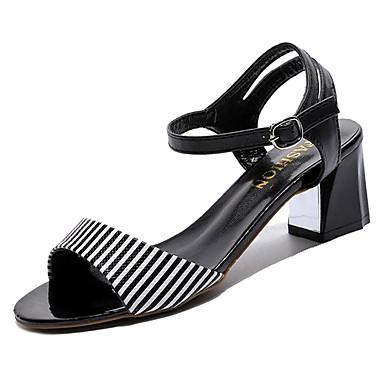 Pentru femei PU Vară Pantof cu Berete Sandale Toc Îndesat Pantofi vârf deschis Alb / Negru / Party & Seară / Dungi / Party & Seară
