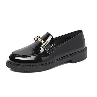 Pentru femei Pantofi PU Primăvară Confortabili Mocasini & Balerini Toc Jos Negru / Rosu