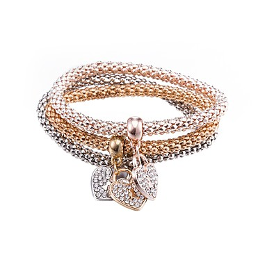 Women s Bracelet Gold Plated Heart Ladies Fashion Bracelet Jewelry Coffee  For Gift Daily a81bb8298182