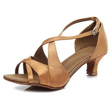 baratos Sapatos de Salsa-Mulheres Sapatos de Dança Cetim Sapatos de Dança Latina / Sapatos de Salsa Presilha Sandália / Salto Salto Alto Magro Personalizável Marron / Espetáculo / EU40
