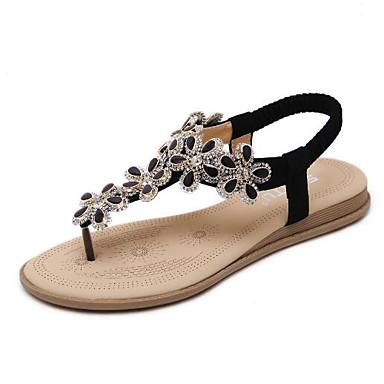 Pentru femei Pantofi PU Primavara vara Confortabili Sandale Toc Drept Negru / Migdală