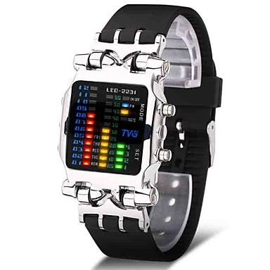 Недорогие Спортивные часы-Муж. Спортивные часы Армейские часы электронные часы Японский Цифровой Нержавеющая сталь Черный 30 m Творчество Новый дизайн Светящийся Цифровой Роскошь Кольцеобразный - Черный Серебряный / Один год