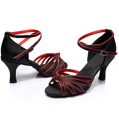 Femme  Chaussures Latines Satin   Femme / Talon Fantaisie Talon Bobine Personnalisables Chaussures de danse Noir / Rouge 1c706a