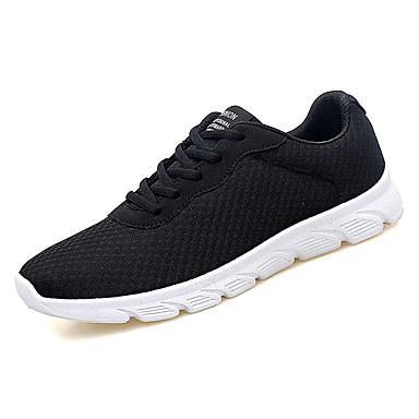 Muškarci PU / Elastična tkanina Ljeto Udobne cipele Atletičarke tenisice Hodanje Crn / Sive boje