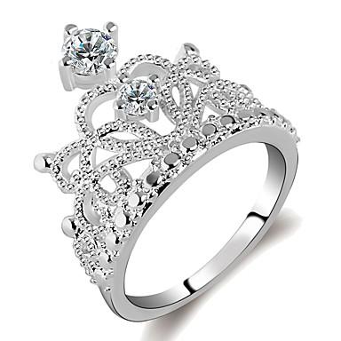 billige Motering-Dame Ring / Princess Crown Ring 1pc Sølv Messing / Platin Belagt / Fuskediamant damer / Mote / Elegant Daglig / Arbeid Kostyme smykker