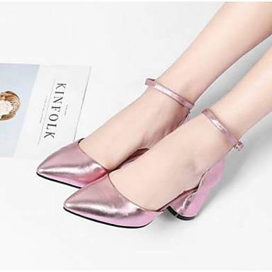 Žene Cipele Ovčja koža Proljeće Udobne cipele Cipele na petu Kockasta potpetica Srebro / Pink / Zabava i večer