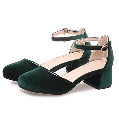 Rojo Cuadrado Tacones Tacón Verde Zapatos Ante Mujer Confort Negro 06831915 Verano I78xqY