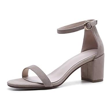 Chair Rose 06778292 Talon Confort ouvert Sandales Daim Marron Femme Bout Boucle Chaussures Bottier Eté q7wATTF