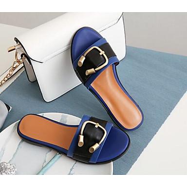 Mules Blanc 06791379 Nappa Sabot Printemps amp; Femme Brun claire Cuir Plat Bleu Chaussures Talon Confort EXvqwE60x