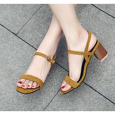 Žene Cipele PU Ljeto Udobne cipele / Obične salonke Sandale Kockasta potpetica Svjetlo žuta