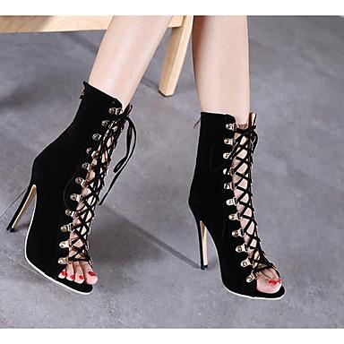Žene Cipele PU Ljeto Udobne cipele / Modne čizme Čizme Stiletto potpetica Čizme do pola lista Crn