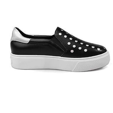 et Cuir rond Noir 06775371 Chaussons Bout Chaussures Paillette D6148 Femme Talon Printemps Automne Mocassins Plat Confort Nappa Blanc 0B45Oq