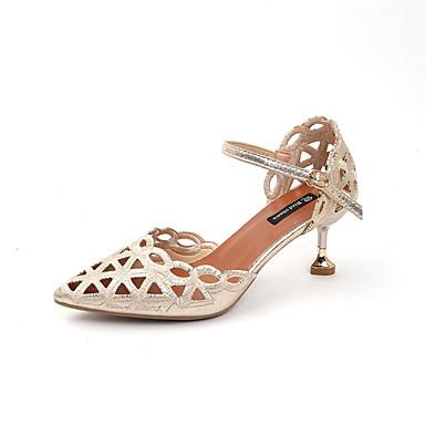 Dorado 06792552 en Tira Tobillo Sandalias el Dedo Verano Kitten Negro PU Puntiagudo Mujer Zapatos Tacón Plateado xZaU7