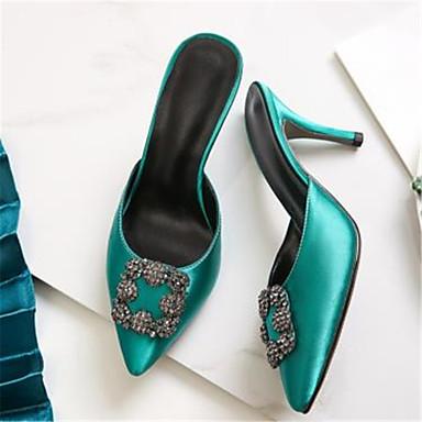 Sabot Escarpin Aiguille Gris Chaussures Basique Rose Bout Mules pointu 06791876 Talon amp; Eté Femme Satin Vert qHwXBwp